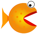 A cartoon illustration for a fish with an open mouth, representing the loose nature of the players on Bodog